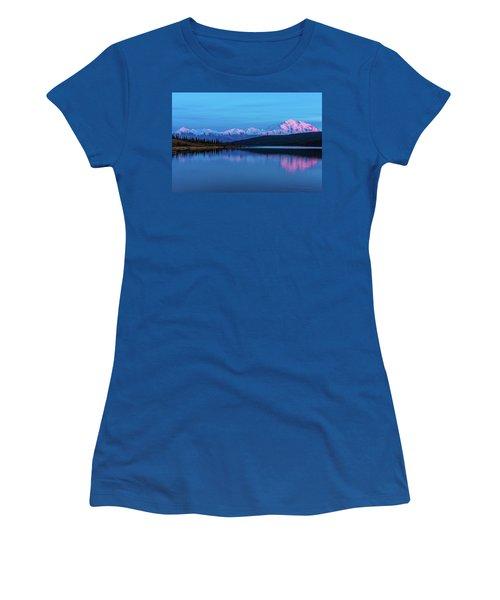 Sunset Reflections Of Denali In Wonder Lake Women's T-Shirt