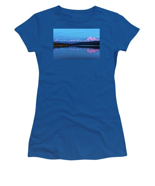 Sunset Reflections Of Denali In Wonder Lake Women's T-Shirt