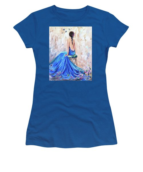 Rhapsody In Blue Women's T-Shirt (Junior Cut) by Jennifer Beaudet