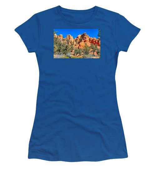 Women's T-Shirt (Athletic Fit) featuring the photograph Rocky Range At Red Canyon by John M Bailey