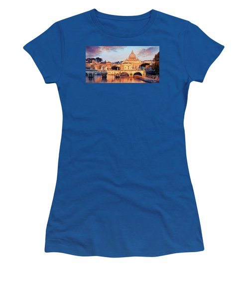Women's T-Shirt featuring the mixed media Rome The Eternal City - Saint Peter From The Tiber by Rosario Piazza