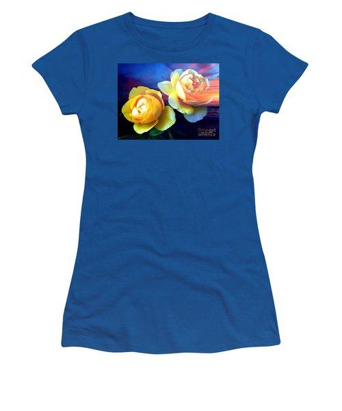 Roses Basking In A Ocean Sunset Women's T-Shirt (Junior Cut) by Annie Zeno