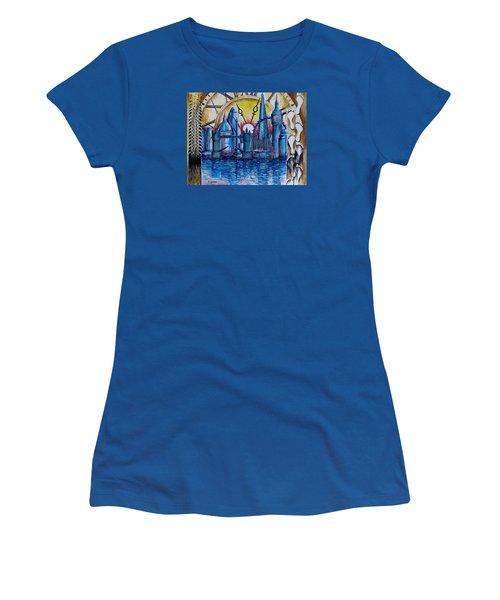 Women's T-Shirt (Junior Cut) featuring the painting Rush Hour In London by Geni Gorani