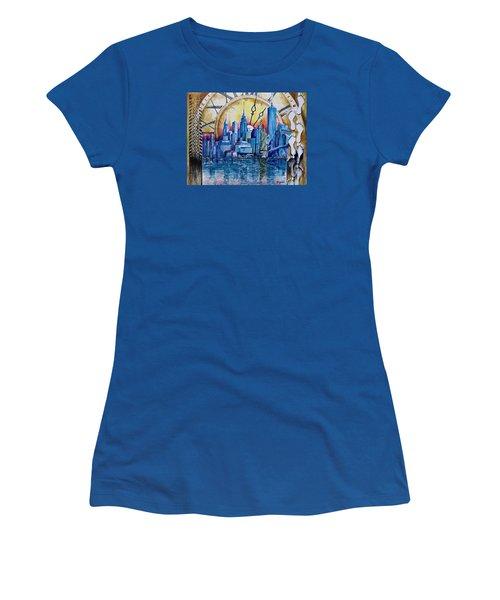 Women's T-Shirt (Junior Cut) featuring the painting Rush Hour In New York  by Geni Gorani