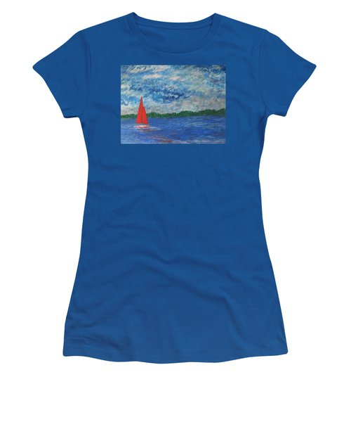 Women's T-Shirt (Junior Cut) featuring the painting Sailing The Wind by John Scates