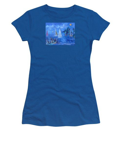 Women's T-Shirt (Junior Cut) featuring the painting Sails And Sun by Betty Pieper
