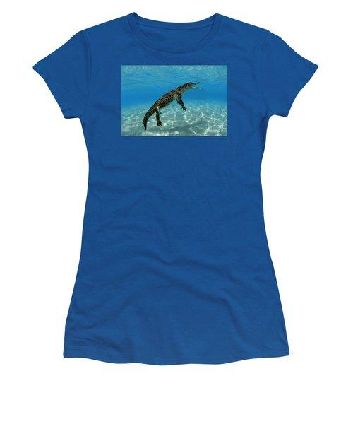 Saltwater Crocodile Women's T-Shirt (Junior Cut) by Franco Banfi and Photo Researchers