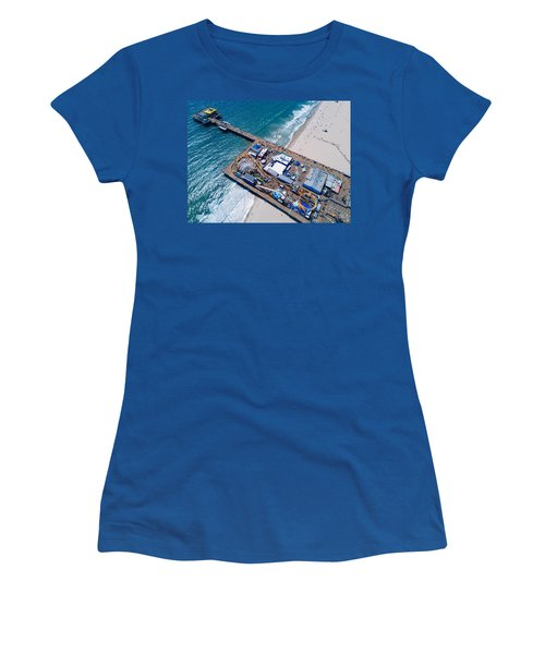 Santa Monica Pier From Above Side Women's T-Shirt (Athletic Fit)