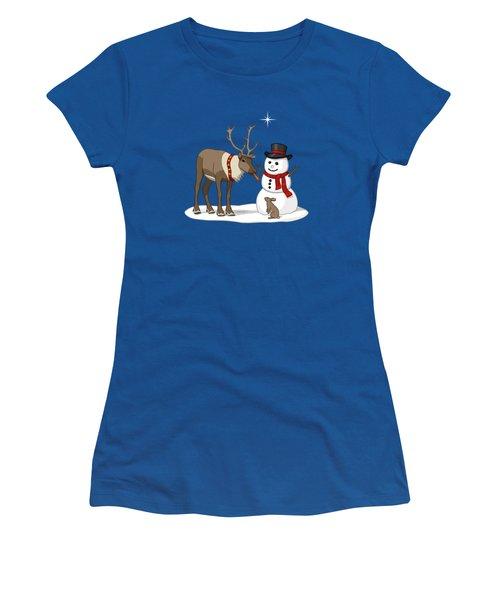 Santa Reindeer And Snowman Women's T-Shirt