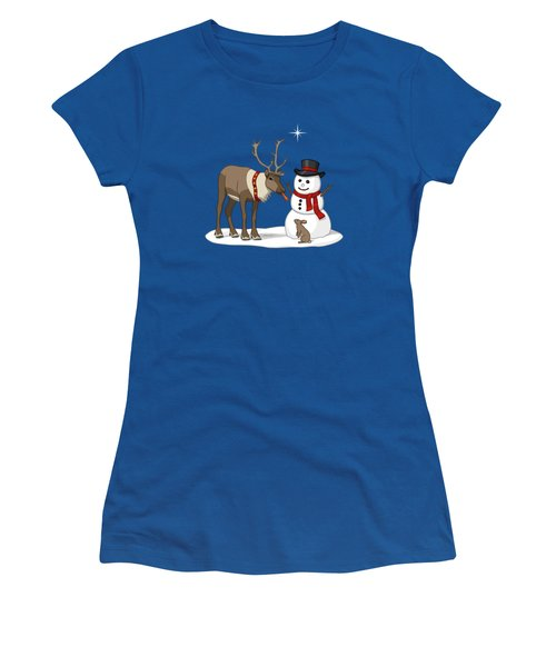 Santa Reindeer And Snowman Women's T-Shirt (Athletic Fit)