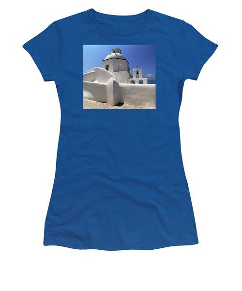 Santorini Greece Architectual Line 4 Women's T-Shirt (Junior Cut) by Bob Christopher
