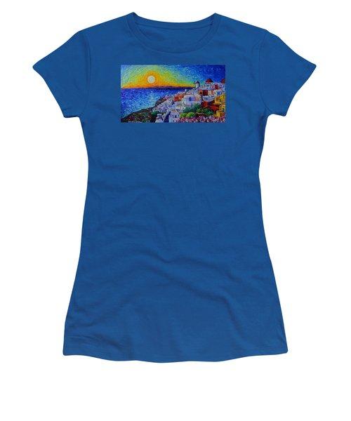 Santorini Oia Sunset Modern Impressionist Impasto Palette Knife Oil Painting By Ana Maria Edulescu Women's T-Shirt