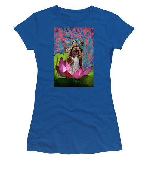 Saraswati Women's T-Shirt (Junior Cut) by David Clanton