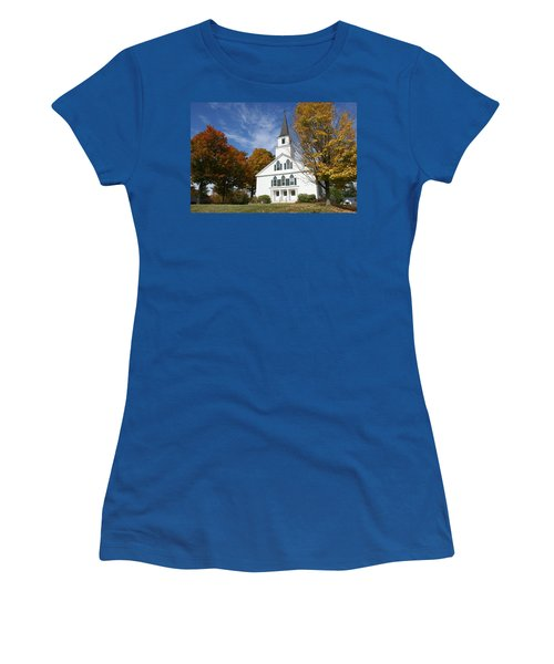 Scenic Church In Autumn Women's T-Shirt (Junior Cut) by Lois Lepisto