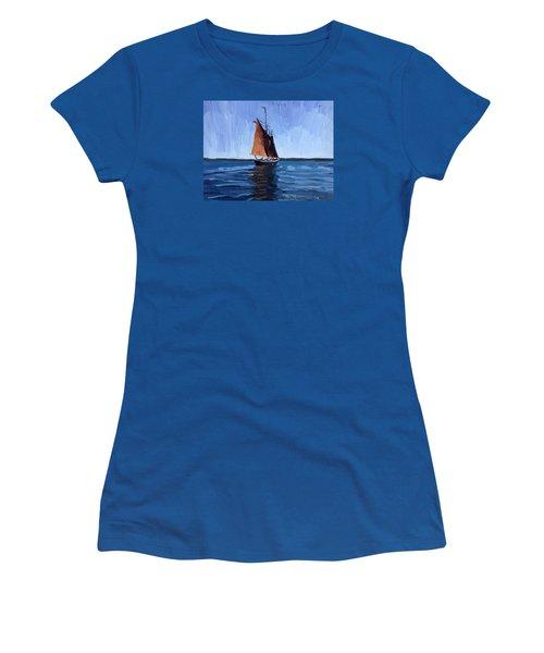 Schooner Roseway In Gloucester Harbor Women's T-Shirt (Junior Cut) by Melissa Abbott
