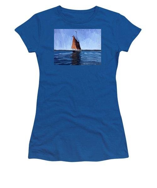 Schooner Roseway In Gloucester Harbor Women's T-Shirt