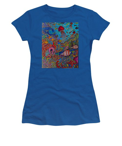 Women's T-Shirt (Junior Cut) featuring the painting Sea World by Rae Chichilnitsky