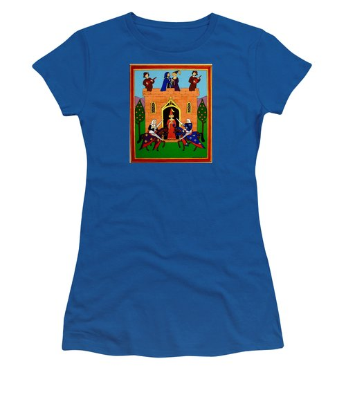 Women's T-Shirt (Junior Cut) featuring the painting Seige Of The Castle Of Love by Stephanie Moore
