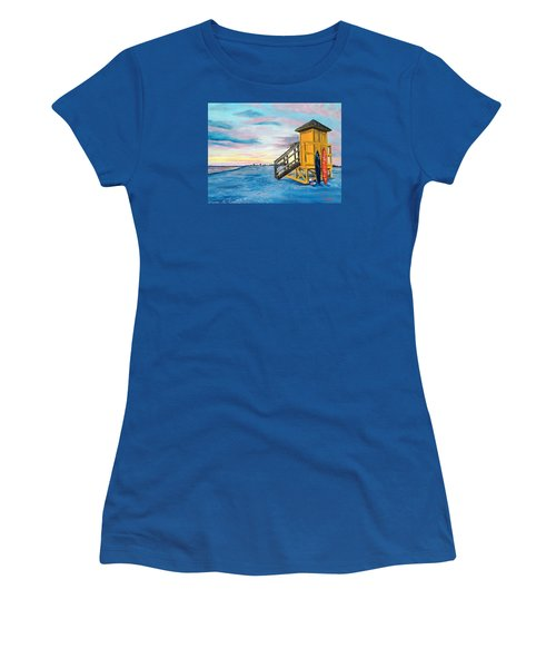 Siesta Key Life Guard Shack At Sunset Women's T-Shirt (Athletic Fit)