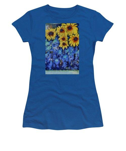 Six Sunflowers On Blue Women's T-Shirt