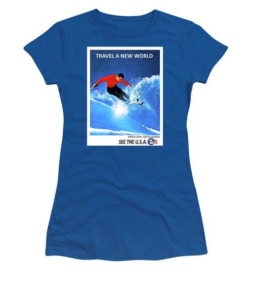 Skiing At Aspen Women's T-Shirt