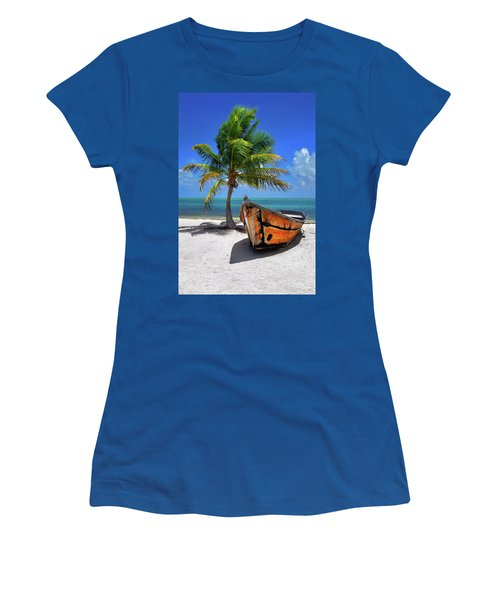 Small Boat And Palm Tree On White Sandy Beach In The Florida Keys Women's T-Shirt