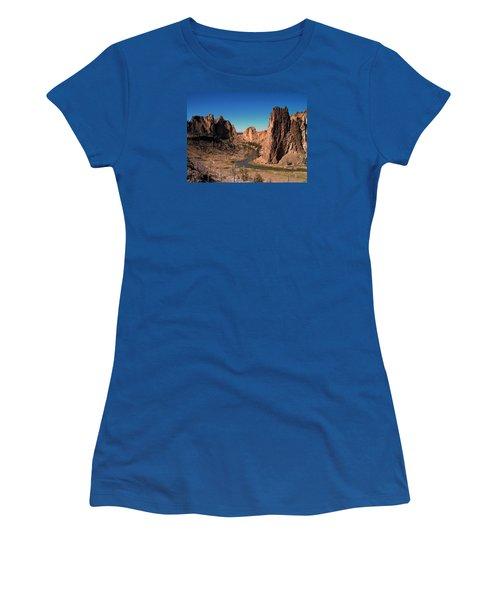 Smith Rock Women's T-Shirt (Junior Cut) by Lori Seaman