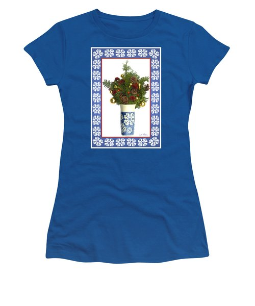 Snowflake Vase With Christmas Regalia Women's T-Shirt (Junior Cut) by Lise Winne