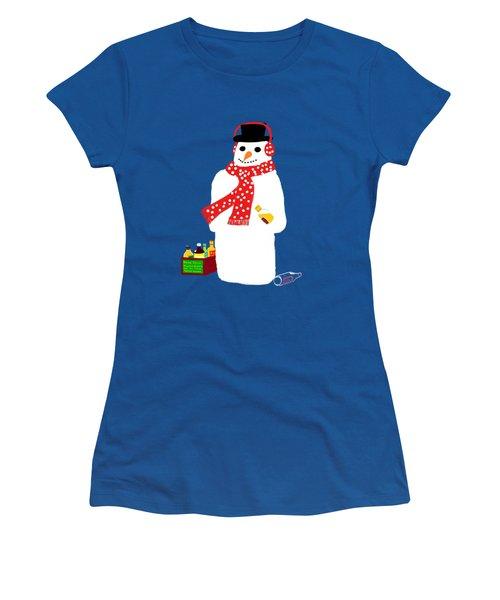 Snowman Women's T-Shirt (Junior Cut) by Barbara Moignard