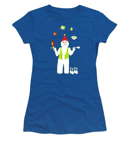 Snowman Juggler Women's T-Shirt (Junior Cut) by Barbara Moignard