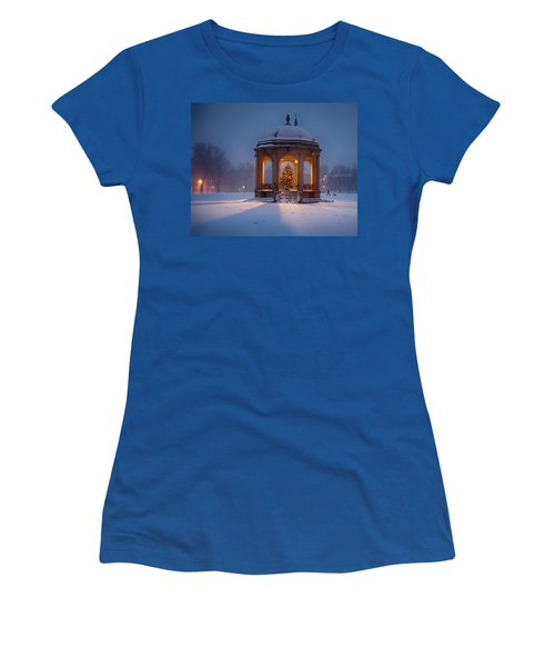 Women's T-Shirt featuring the photograph Snowy Night On The Salem Common by Jeff Folger