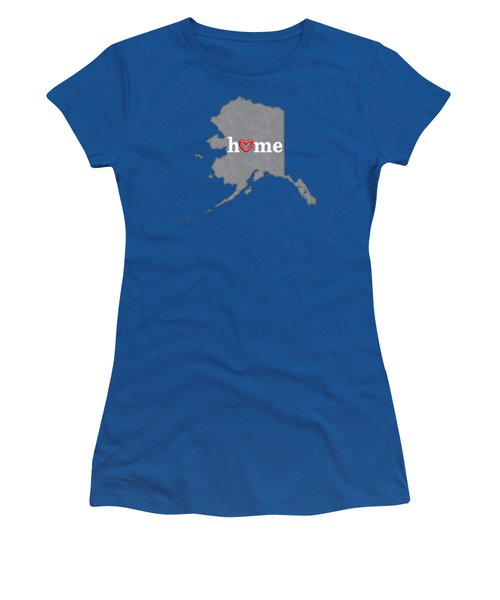 State Map Outline Alaska With Heart In Home Women's T-Shirt