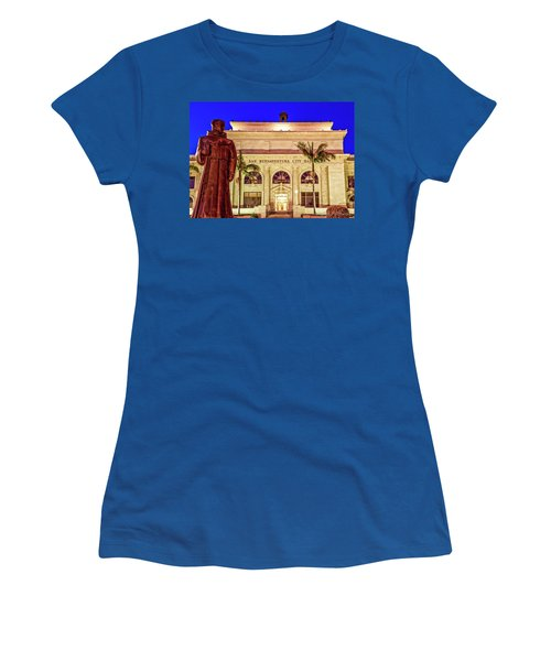 Statue Of Saint Junipero Serra In Front Of San Buenaventura City Hall Women's T-Shirt (Junior Cut) by John A Rodriguez