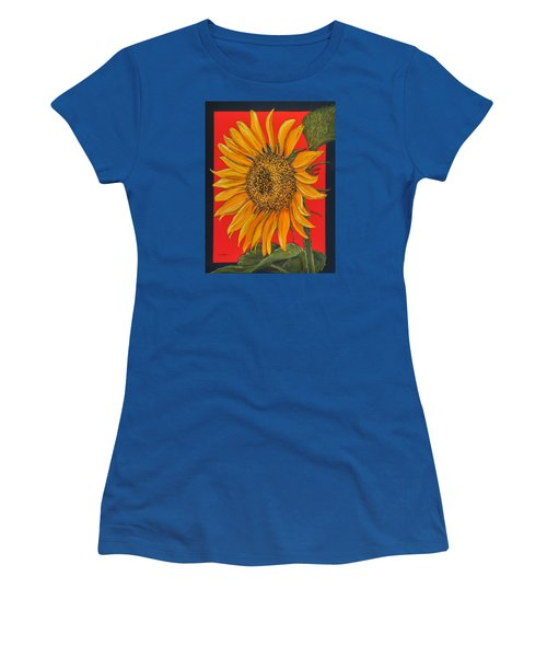 Da153 Sunflower On Red By Daniel Adams Women's T-Shirt