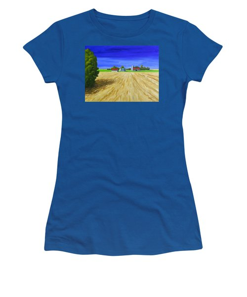 Sunny Fields Women's T-Shirt (Junior Cut) by Jo Appleby