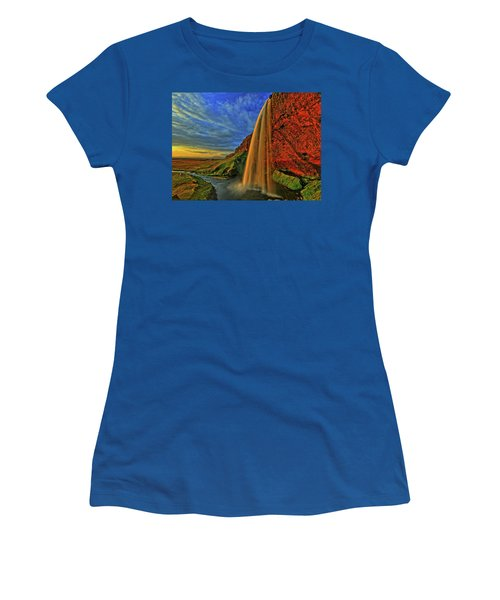 Women's T-Shirt (Junior Cut) featuring the photograph Sunset At The Falls by Scott Mahon