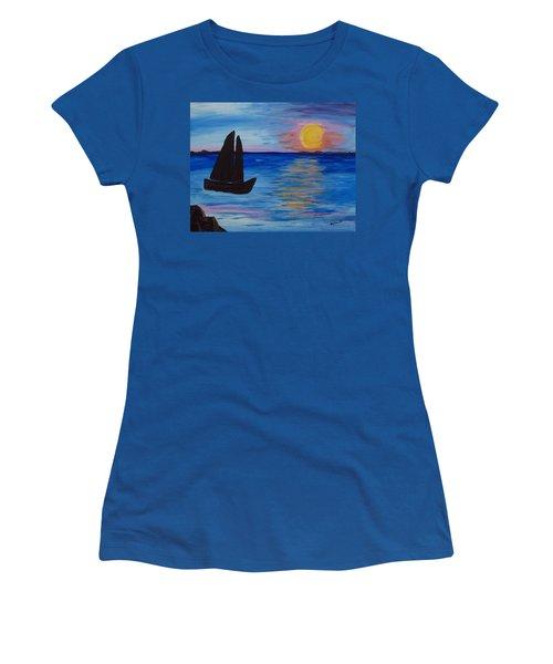 Sunset Sail Dark Women's T-Shirt (Junior Cut) by Barbara McDevitt
