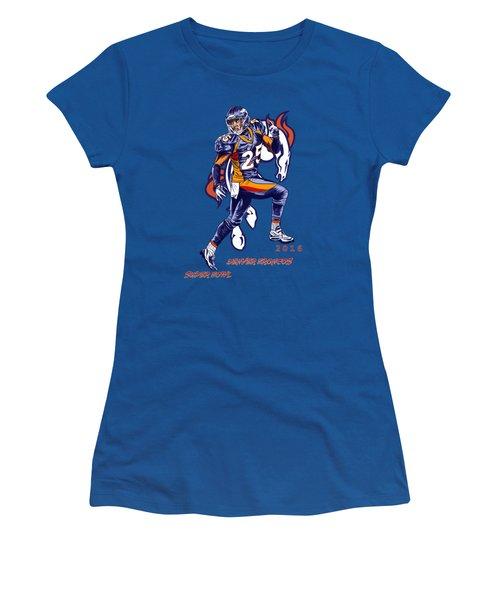 Women's T-Shirt (Junior Cut) featuring the drawing Super Bowl 2016  by Andrzej Szczerski