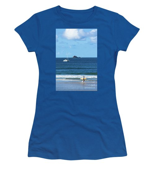 Surfer On Main Beach Women's T-Shirt (Athletic Fit)