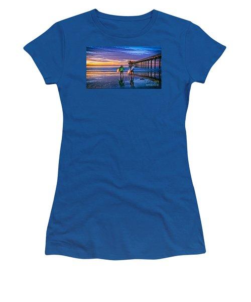 Surfers At Scripps Pier In La Jolla California Women's T-Shirt
