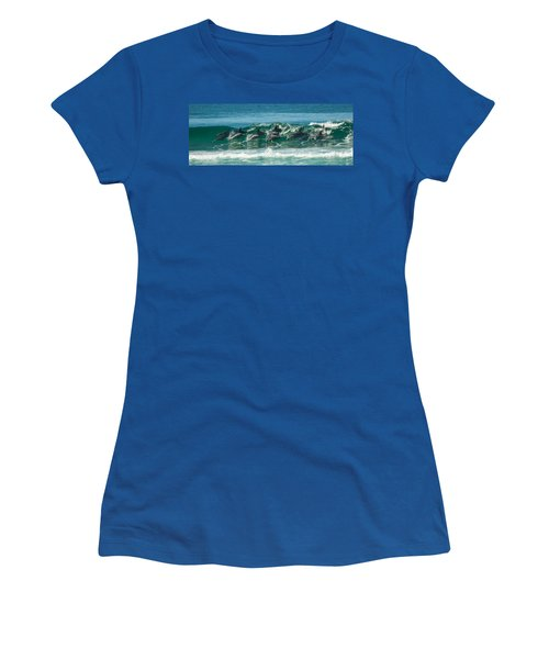 Surfing Dolphins 4 Women's T-Shirt (Athletic Fit)