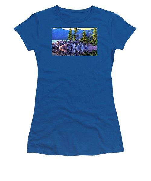 Tahoe Water Reflections Women's T-Shirt (Junior Cut) by Nancy Marie Ricketts