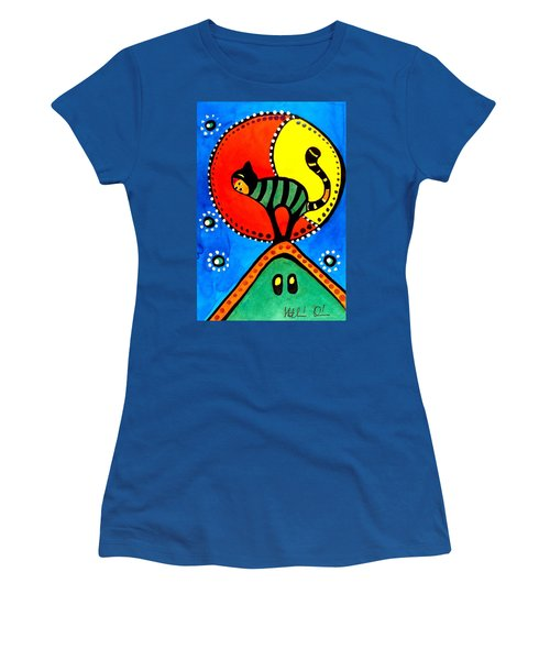 Women's T-Shirt (Junior Cut) featuring the painting The Cat And The Moon - Cat Art By Dora Hathazi Mendes by Dora Hathazi Mendes