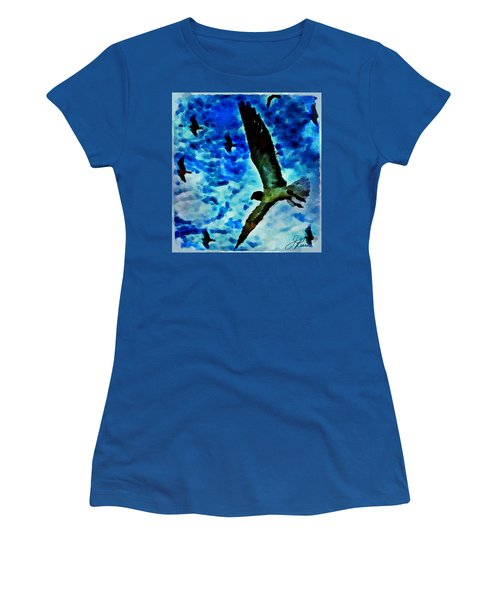 Women's T-Shirt (Athletic Fit) featuring the painting The Great Seagull by Joan Reese