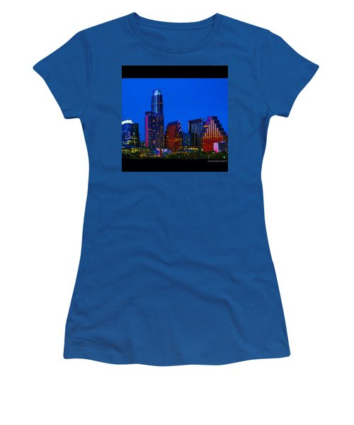 The #instaawesome #austin #skyline On A Women's T-Shirt (Athletic Fit)