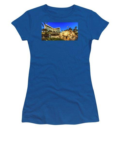 The Mirage Casino And Volcano At Dusk Women's T-Shirt (Junior Cut) by Aloha Art