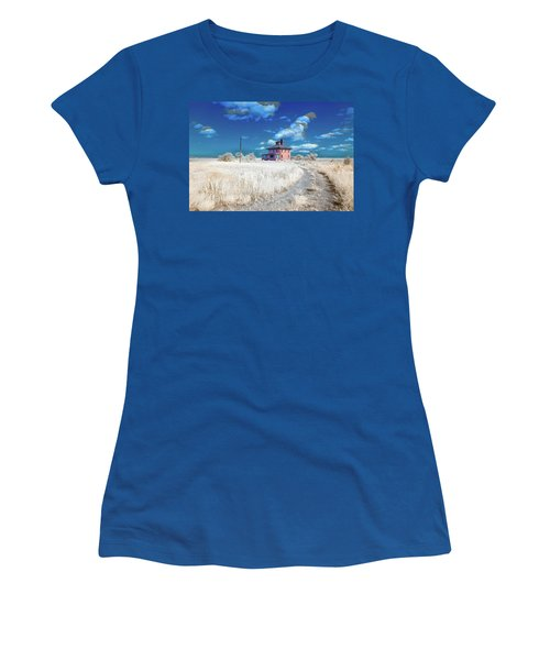 Women's T-Shirt featuring the photograph The Pink House In Halespectrum 2 by Brian Hale