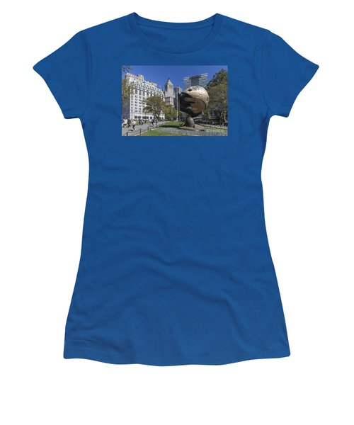 Women's T-Shirt featuring the photograph The Sphere Batterie Park Nyc by Juergen Held