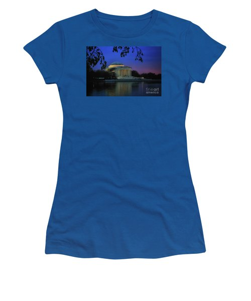 Thomas Jefferson Memorial Sunset Women's T-Shirt (Junior Cut) by Elizabeth Dow