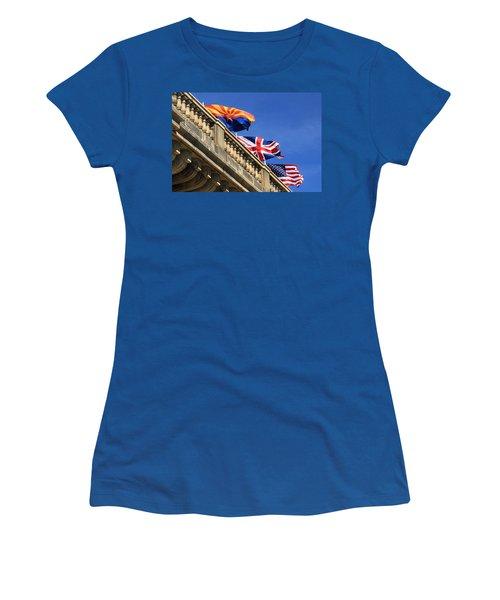 Three Flags At London Bridge Women's T-Shirt (Junior Cut) by James Eddy